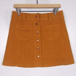 Madewell A-Line Button Front Brown Mini Skirt